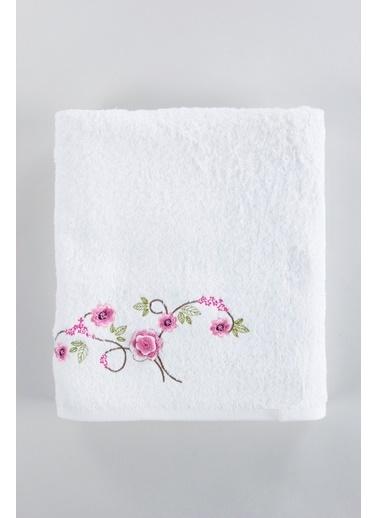 Jua Rosemus Nakışlı Havlu 85*140 Beyaz